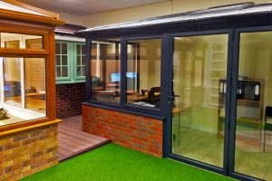 Grey and Oak Conservatories in our Showroom
