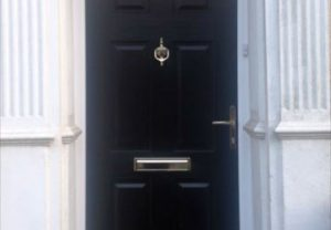 Black traditional style composite door