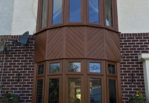 Brown bay windows