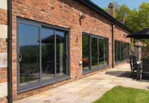 Grey sliding patio doors