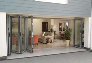 Light grey bi-folding doors
