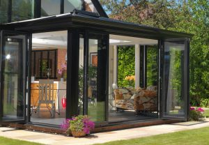 Modern glazed extension