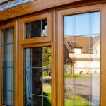 Oak Effect bay window with leaded bars